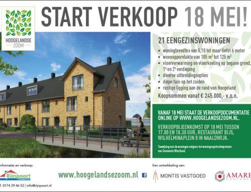 1 mei 2017 – Verkoop 21 eengezinswoningen Hoogelandse Zoom start op 18 mei
